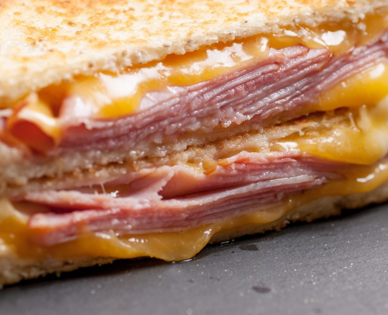 grilled ham and cheese sandwich with cheddar and havarti cheese; Shutterstock ID 609877292; PO: today.com food